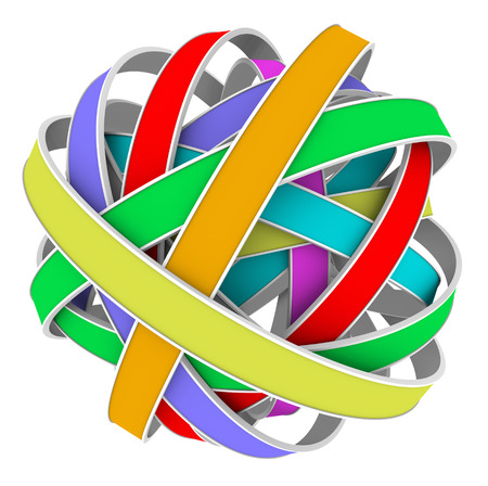 tangle: Ball or sphere of color strips in a messy tangle or bundle