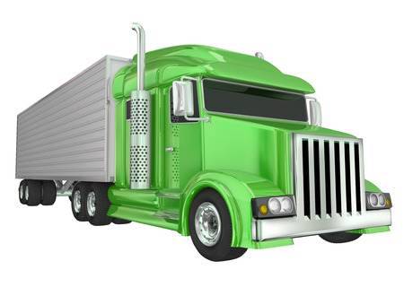 distributing: Green semi truck front angle to illustrate travel, transportation and shipping or delivery of products over the road