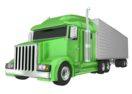 wheeler: Green semi truck front angle to illustrate travel, transportation and shipping or delivery of products over the road
