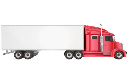 wheeler: Red cab on isolated 18 wheeler big rig Class 8 truck with blank copy space on trailer for your text or message