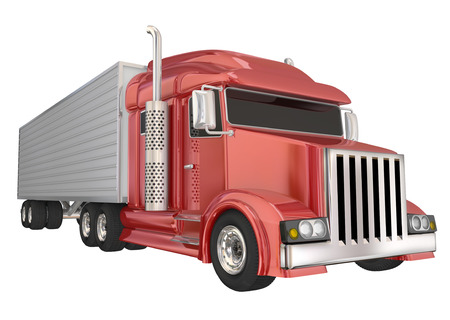 Red semi truck front angle to illustrate travel, transportation and shipping or delivery of products over the road 写真素材