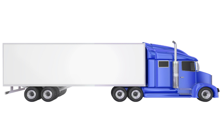 distributing: Blue cab on isolated 18 wheeler big rig Class 8 truck with blank copy space on trailer for your text or message Stock Photo