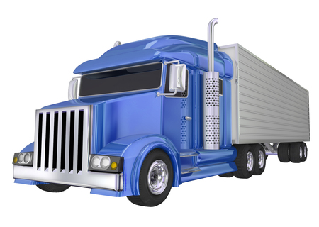 manage transportation: Blue semi truck front angle to illustrate travel, transportation and shipping or delivery of products over the road