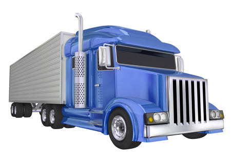 hauling: Blue semi truck front angle to illustrate travel, transportation and shipping or delivery of products over the road