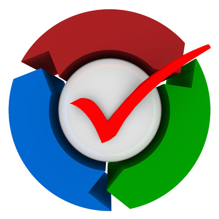 affirm: Red check mark on a ball surrounded by three arrows to illustrate an approved system, process or procedure Stock Photo