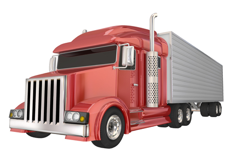 wheeler: Red semi truck front angle to illustrate travel, transportation and shipping or delivery of products over the road Stock Photo
