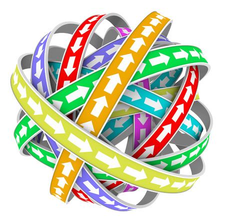 endlos: Pfeile auf bunten Straßen oder Kreise in einer kreisförmigen Endlosmuster in ständiger Bewegung in verschiedenen Richtungen
