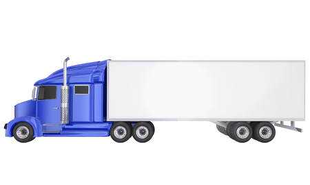 wheeler: Blue cab on isolated 18 wheeler big rig Class 8 truck with blank copy space on trailer for your text or message Stock Photo