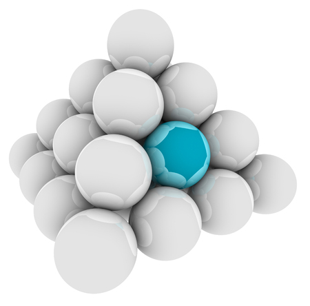 Blue ball in a pyramid of spheres to illustrate standing out or being special, unique or different or best in the group