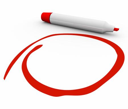 marker: Red marcador o un bolígrafo en circuito, destacando, subrayando o undersoring su mensaje o texto importante con copia espacio en blanco
