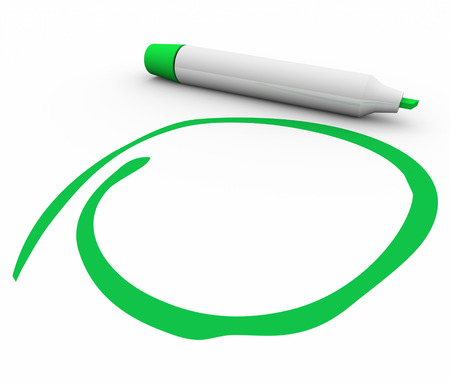 stressing: Green marker or pen circling, highlighting, stressing or undersoring your important message or text with blank copy space