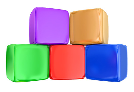 box: Five colorful boxes, blocks or cubes stacked or piled in rows