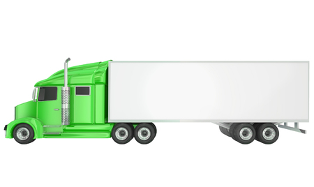 wheeler: Green cab on isolated 18 wheeler big rig Class 8 truck with blank copy space on trailer for your text or message