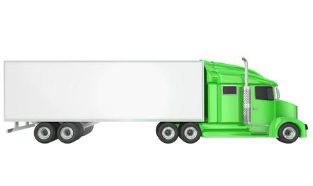 あなたのテキストのためのトレーラー上の空白コピー スペースで分離 18 ウィーラー ビッグリグ クラス 8 トラックのキャブを緑色、またはメッセー 写真素材