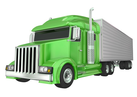 manage transportation: Green semi truck front angle to illustrate travel, transportation and shipping or delivery of products over the road