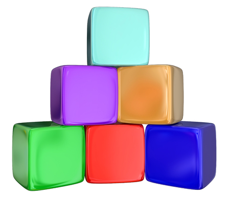 Stack, pyramid or pile of colorful cubes, blocks or boxes