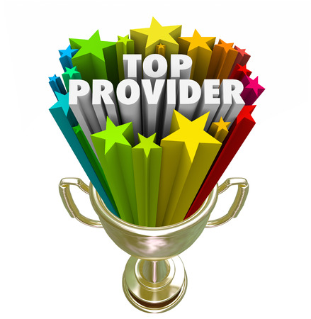 Top Provider words in 3d letters and stars in a golden trophy, prize or award for best doctor, medical care practitioner or insurance company