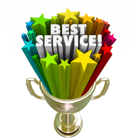 rated: Best Service trophy or golden prize for the top rated company or business