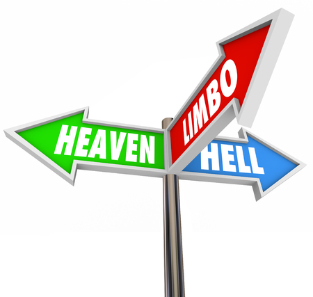 waver: Heaven Hell and Limbo words on 3 arrow signs to illustrate being stuck in religious or faith purgatory Stock Photo