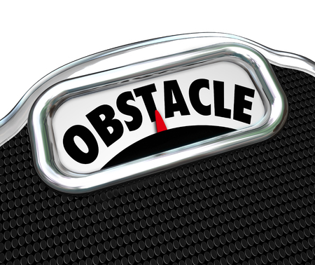 regimen: Obstacle word on a scale to illustrate trouble or problem with a diet and weight loss Stock Photo