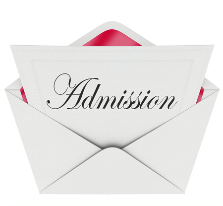 Admission word in script type on a card or letter in envelope for exclusive special access to an event or party Stock Photo