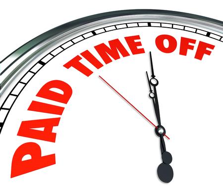 ley: Tiempo libre pagado palabras en una esfera de reloj para ilustrar empleado médico, enfermos o familiares con sueldo