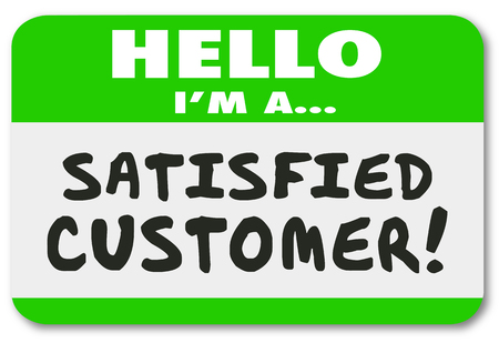 Hello I am a Satisfied Customer words on a name tag sticker to show your satisfaction and pleasure with a company or business Stock Photo