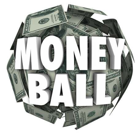 money sphere: Money Ball words in 3d letters on a sphere of hundred dollar bills to illustrate statistics in sports and betting or gambling in a fantasy team league Stock Photo