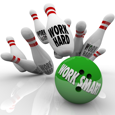 maximization: Work Smart words on a green bowling ball striking pins with words Work Hard to illustrate good system, process or procedure to increase efficiency Stock Photo