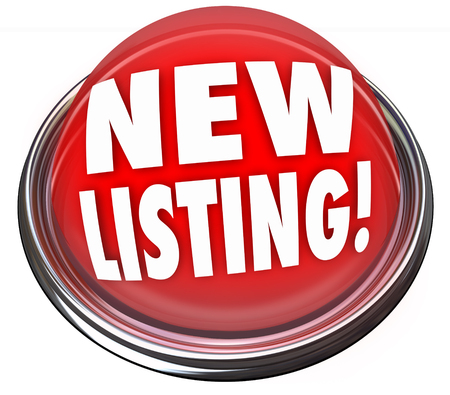 New Listing words on a red button or flashing light to call attention or advertise a house, home or product just put up for sale