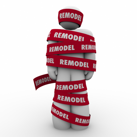 home remodel: Remodel word on red tape wrapped around a home or property owner during a renovation or building improvement project