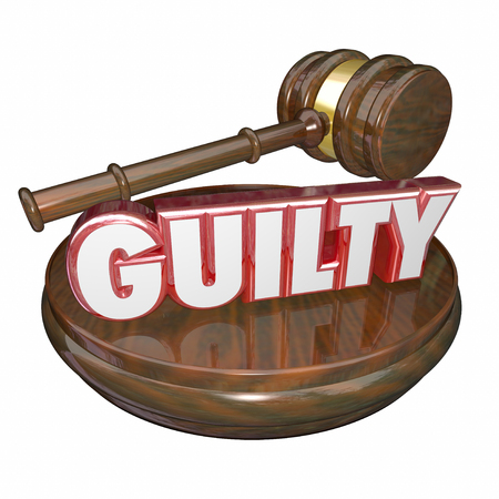 verdicts: Guilty word in 3d letters on a judge's wooden gavel and block for final verdict or decision convicting an accused suspect or criminal