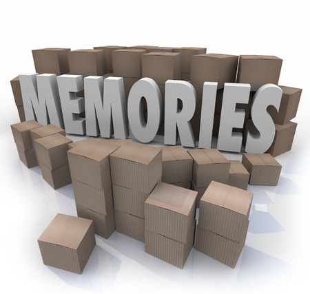 reminisce: Memories word in 3d letters surrounded by cardboard boxes of items from your past history Stock Photo