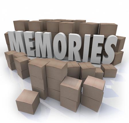 cajas de carton: Recuerdos palabra en letras 3d rodeado de cajas de cartón de los elementos de su historia pasada