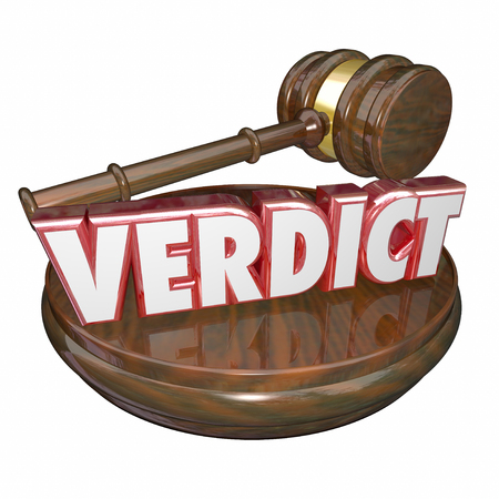 accused: Verdict word in red 3d letters to illustrate or announce a judge's decision in a court case or legal trial Stock Photo