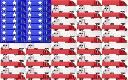 18 wheeler: Red, white and blue trucks with tractor trailer big rig 18 wheelers on an American flag for the USA United States of America