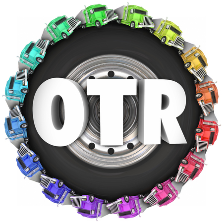 wheeler: OTR letters on a 3d wheel or tire illustrating Over the Road trucking with tractor trailers driving around in a circle