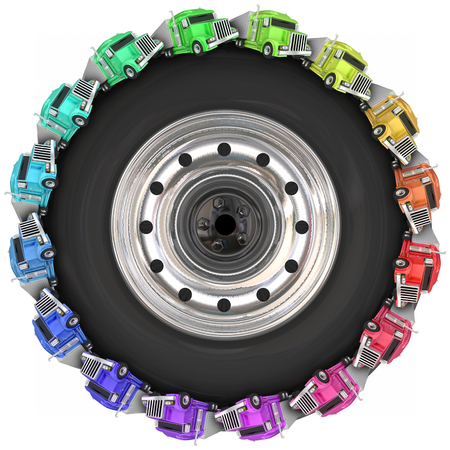 wheeler: Fleet or convoy of big rig 18 wheeler trucks driving around a wheel or tire to illustrate over the road trucking