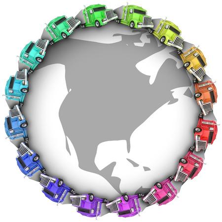 艦隊または地球、米国、カナダ、メキシコ、惑星の周り運転ビッグリグ 18 輪トラックのコンボイ