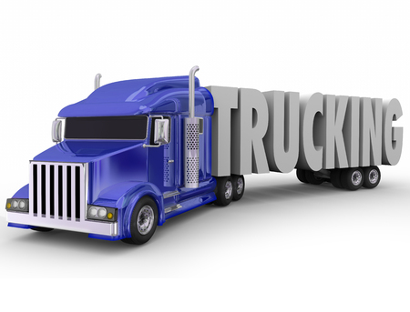 18 wheeler: Trucking word in 3d letters pulled or hauled by a blue tractor trailer truck or 18 wheeler big rig