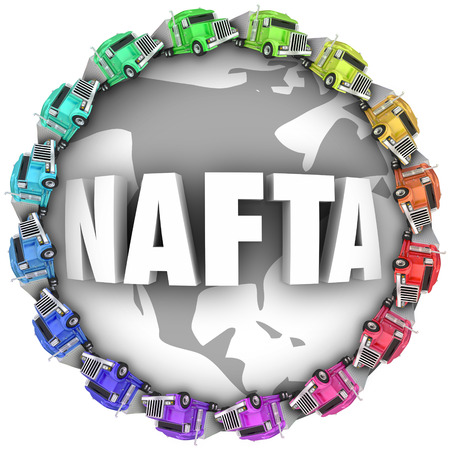 nafta: NAFTA abbreviation or acronym meaning North American Free Trade Agreement on a globe with trucks driving around it