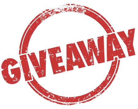Giveaway woord in een rode grunge stijl stempel voor een wedstrijd om een gratis prijs of onderscheiding te bieden aan een winnter van een wedstrijd of tekening