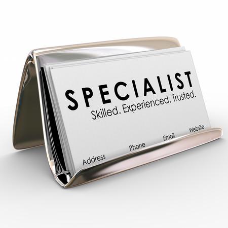 mot de spécialistes sur une carte de visite pour un consultant expérimenté, professionnel ou expert qualifié