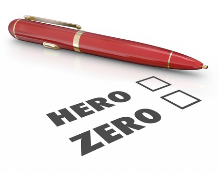 Hero or Zero words on a form or questionnaire asking if you are a winner, savior or role model vs a loser Stock Photo