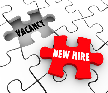 New Hire words on a red puzzle piece filling a hole or open position on your staff or workforce