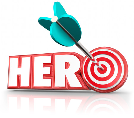 role model: Hero word in red 3d letters to illustrate a super savior or role model