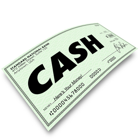 receiving: Cash word on a paper check as money earned in payment