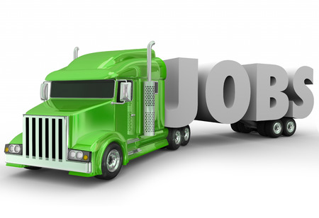 18 wheeler: Jobs 3d word hauled by a truck cab on a trailer to illustrate a new career opportunity in trucking industry