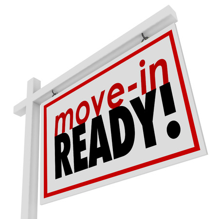prep: Move-in Ready words on a house or home for sale real estate sign Stock Photo