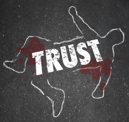 lies: Trust word on a chalk outline of a person or victim of fraud, dishonesty or lies